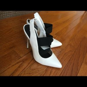 White/black bebe pointed toe heels😍